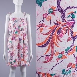 M/L Vintage 70s Abstract Peacock Sun Dress